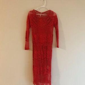 Free People Dresses - Free People Red Crochet Dress